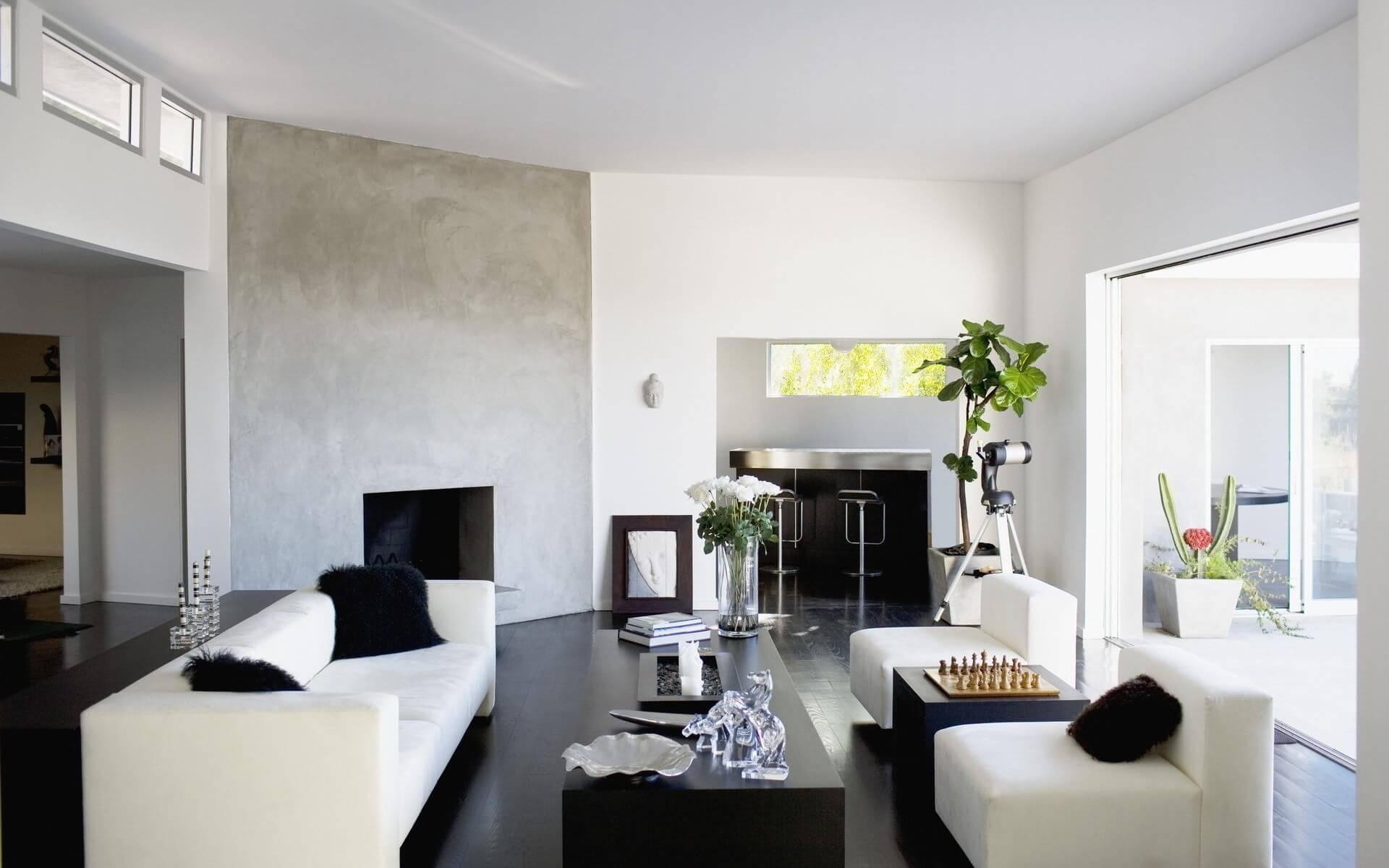 темный пол, белые стены в гостиной