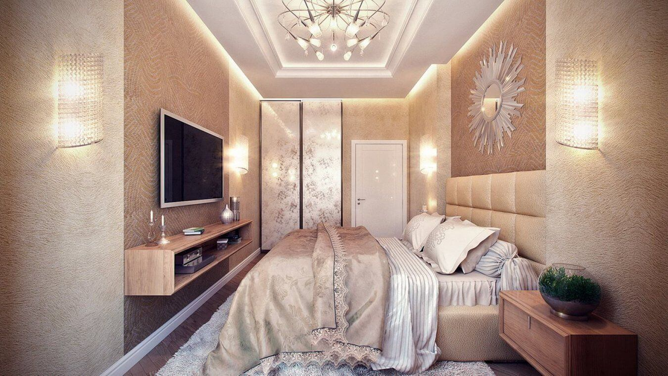 отделка стен декоративной штукатуркой в спальне