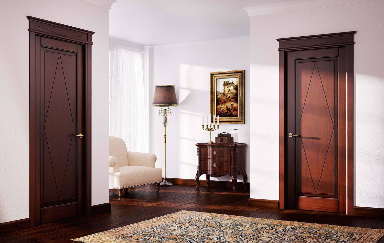 темные межкомнатные двери в классическом стиле
