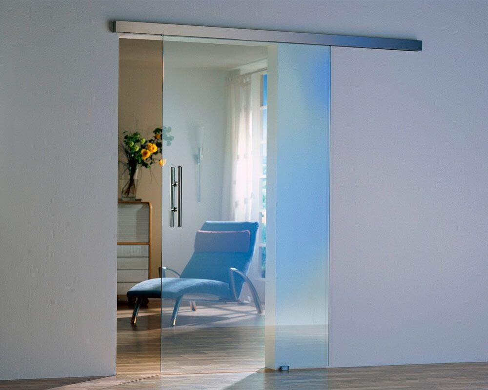 раздвижная стеклянная межкомнатная дверь