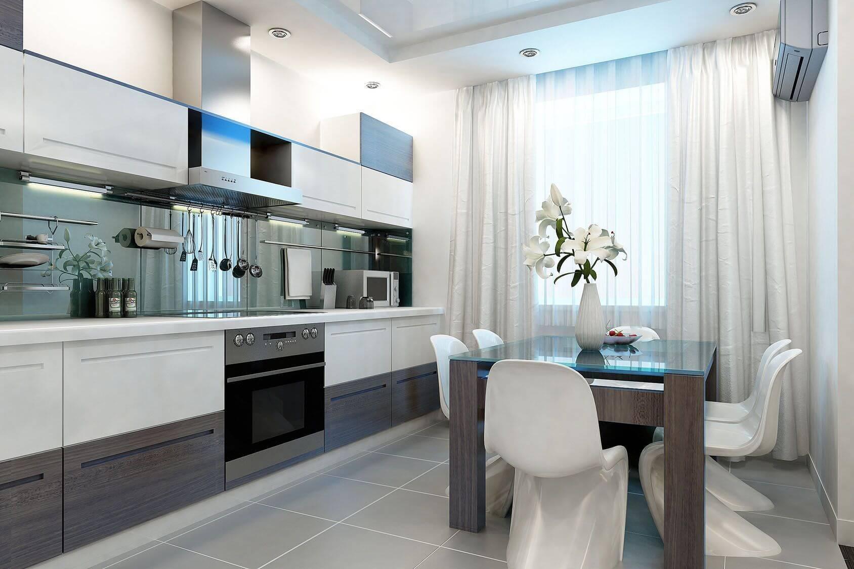 белые классические шторы для кухни
