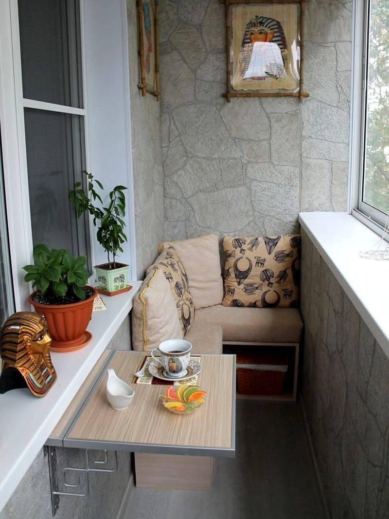 Внутренняя отделка балкона декоративным камнем фото